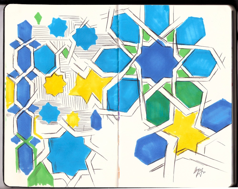 Sketches of tile detail. Biro and Marker.