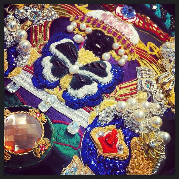 Mary Katrantzou  A/W 2014  Detailing of gold work embroidery, embroidered by the talented team at Hand & Lock