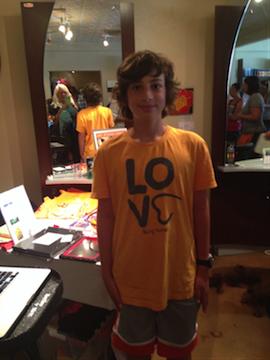 Gabriel Moussa, Amaey's best friend helped at the Kids & Art table.