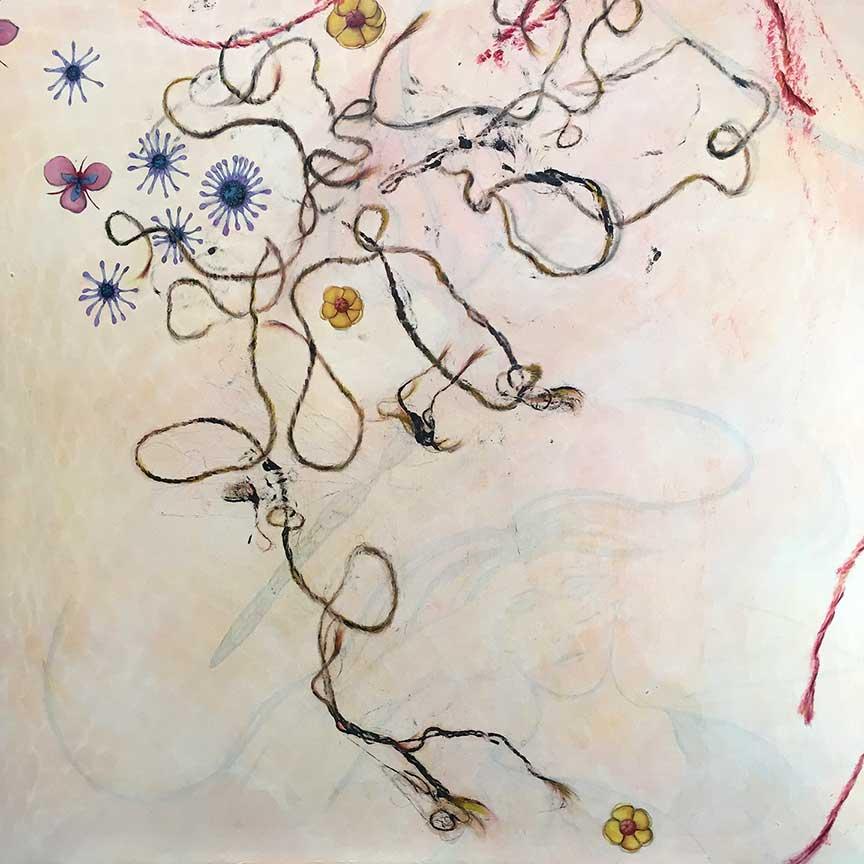 "Unravel, Rewrite, Acrylic on Panel, 32""x32"",© Belinda Chlouber 2017"