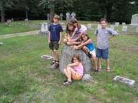 Participants of 2003 Digital Photography Workshop visit Hobbs Family grave.