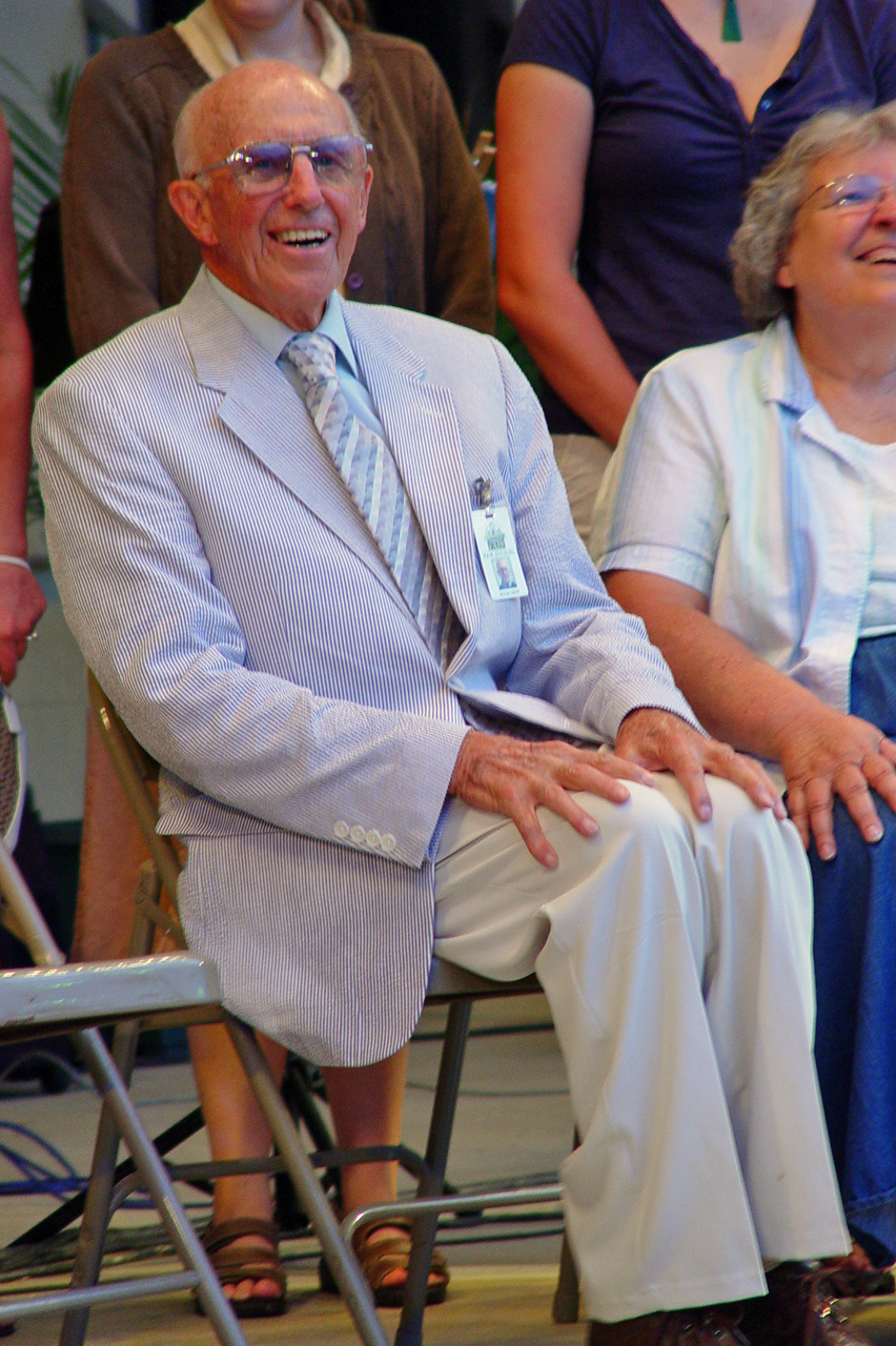 Frank Lerew was honored on stage during the fair's 50th anniversary celebration in July 2007 for his contributions to the community.