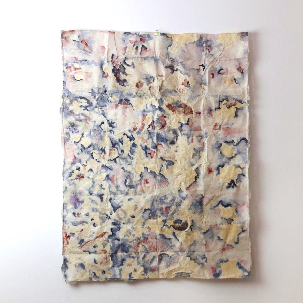 "Eco Print of Suburbia #10  Natural Dye on Handmade Paper, 30"" x 24""  Signed Verso  Original"