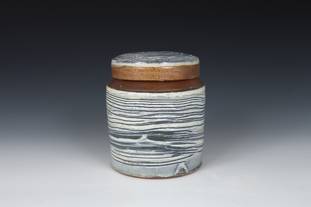 Brushed Slip Capped Jar