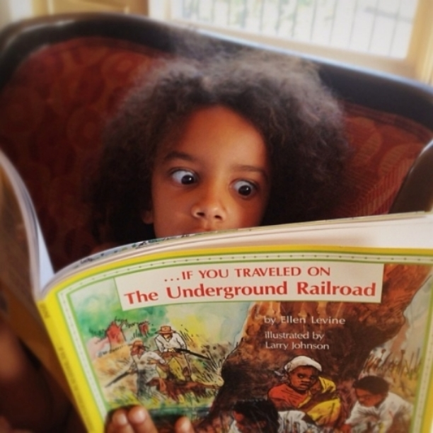 My youngest learning about Harriet Tubman. Photographed by her dad Brian Ali Harding