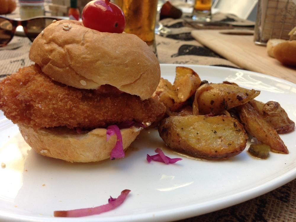 Chicken schnitzel slider
