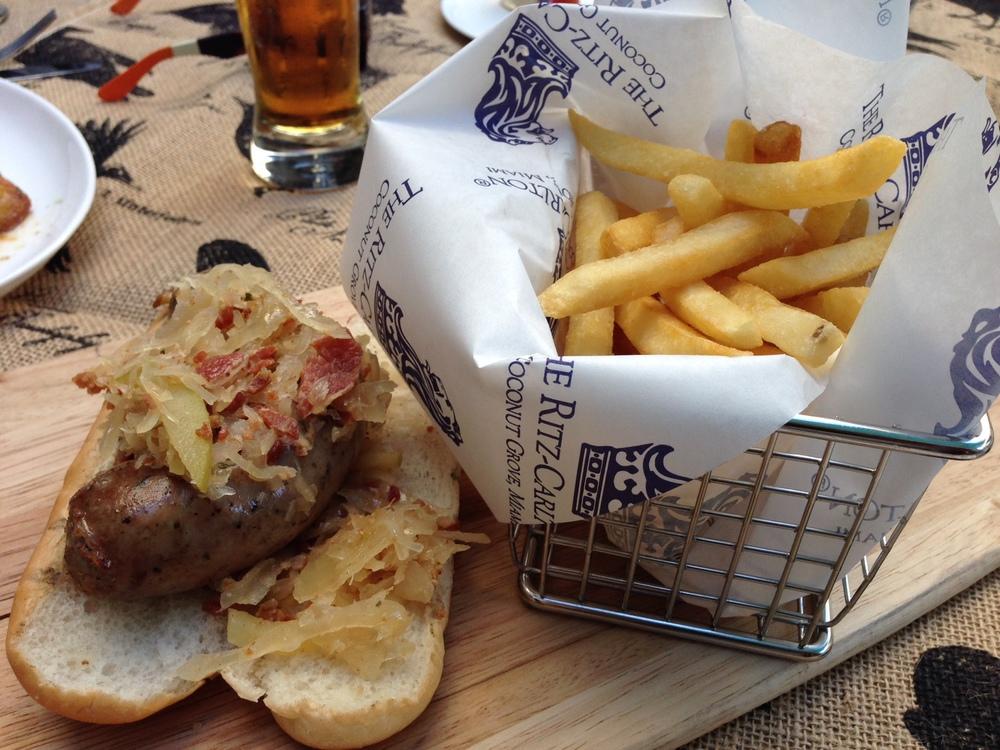 Beer braised grilled bratwurst w/ fries