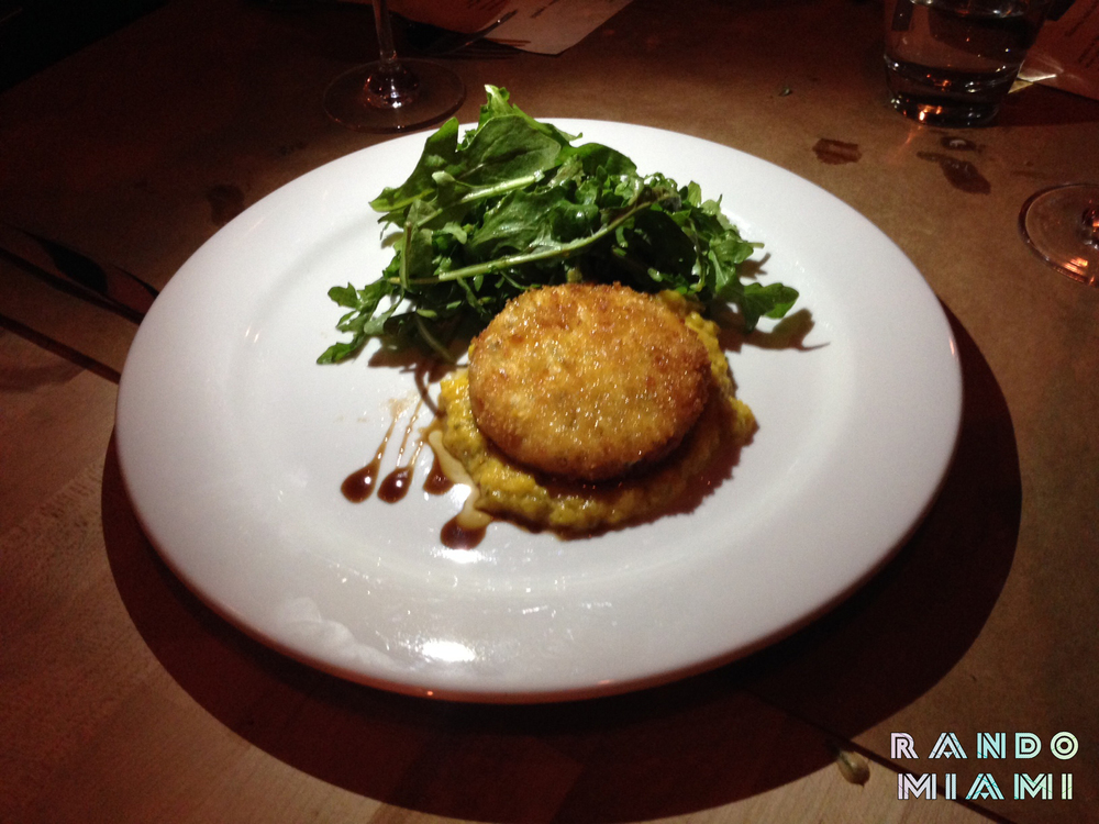 Fried goat cheese medallion