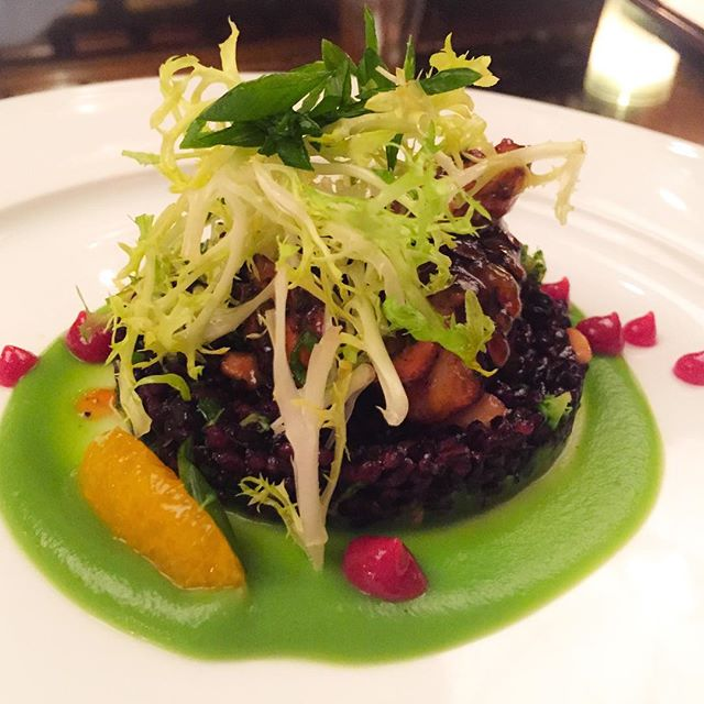 General Tso's Octopus | broccoli, blood octopus, black rice. Unlike anything you've ever tasted before @theforgerestaurant (via: @theleisureist) #socialmediadinner #theforge #miamibeach #theleisureist #chefjuliadoyne
