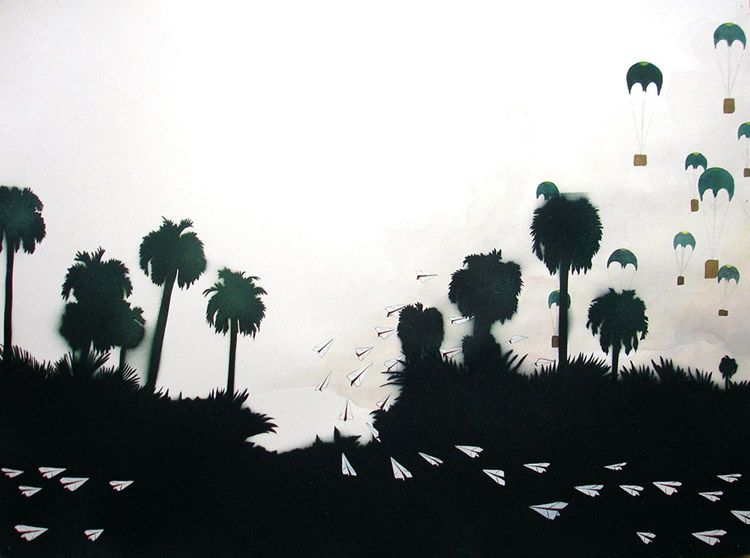"Interceptors / spray paint and acrylic on paper / 22"" x 30"" / 2006"