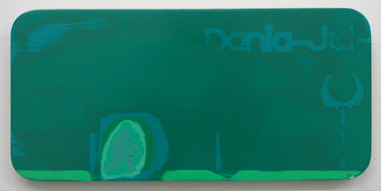 "Highlights from Dania 2 / acrylic on baltic birch / 7"" x 15"" / 2004"