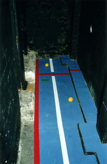 Court (Glasgow Version) / neoprene, latex paint, and nerf balls / variable dimensions / 2002