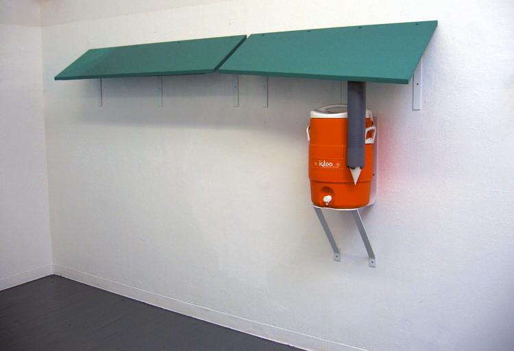 Sidelines / wood, latex paint, steel, igloo cooler / variable dimensions / 2002
