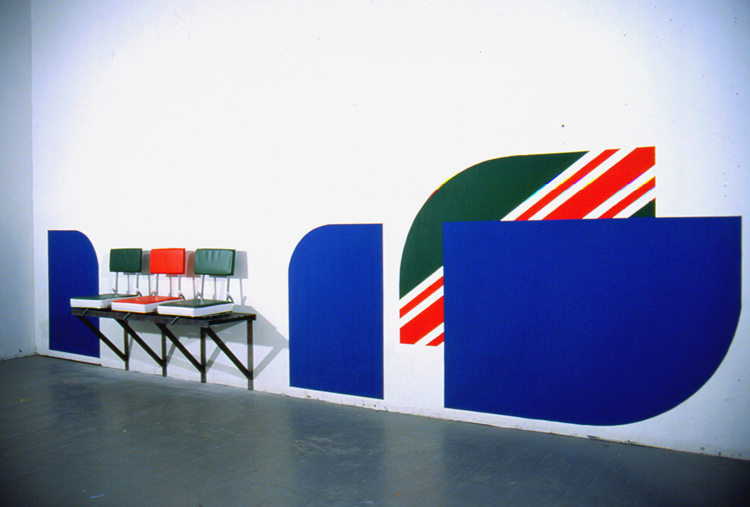 Sidelines 2 / steel, neoprene, latex paint, and stadium cushions / variable dimensions / 2002