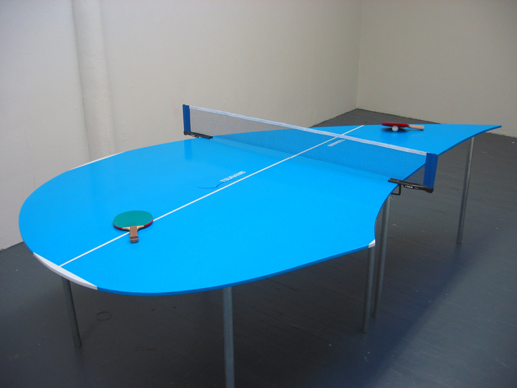"Tsunamis 2 / modified Ping-Pong table and accessories / 9' x 5' x 30"" / 2003"