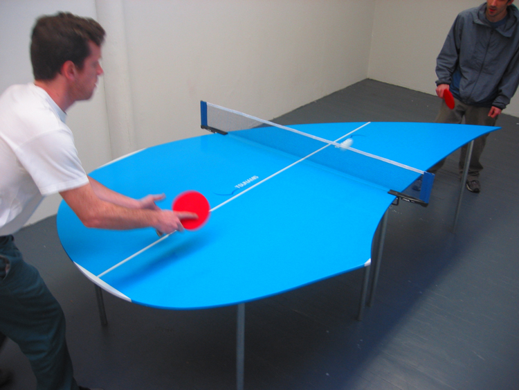 "Tsunamis 2 (action) / modified Ping-Pong table and accessories / 9' x 5' x 30"" / 2003"