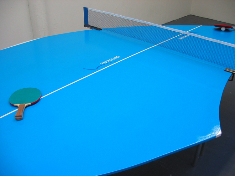 "Tsunamis 2 (detail) / modified Ping-Pong table and accessories / 9' x 5' x 30"" / 2003"