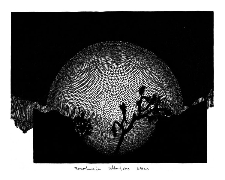 "Pioneertown / pen and ink on paper / 13"" x 16.5"" / 2014"