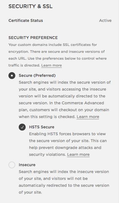 Squarespace SSL certificates