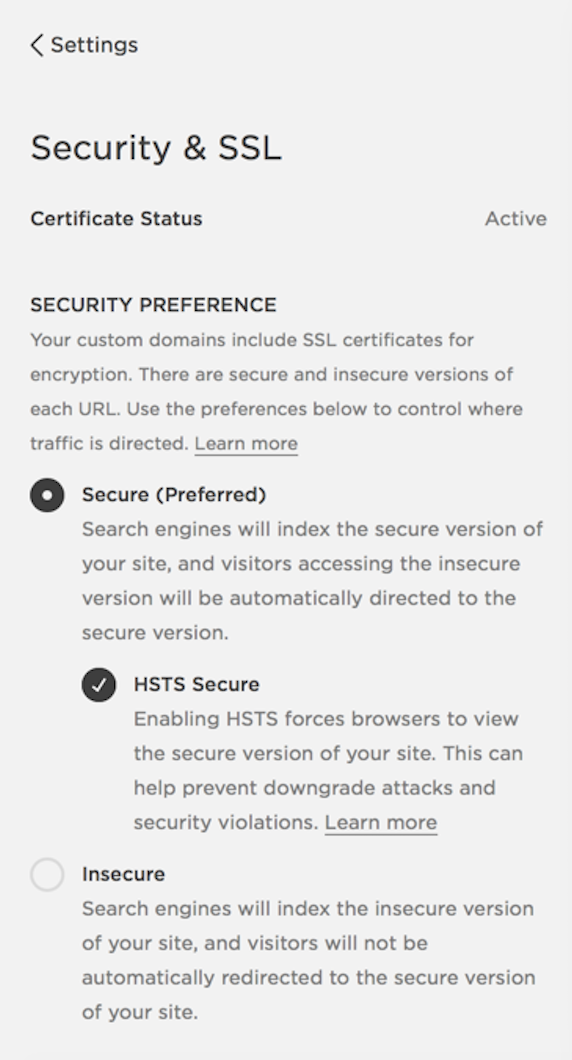 Screenshot showing how to turn on SSL settings in Squarespace