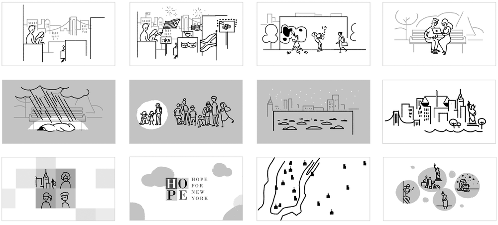 Some early storyboard sequences