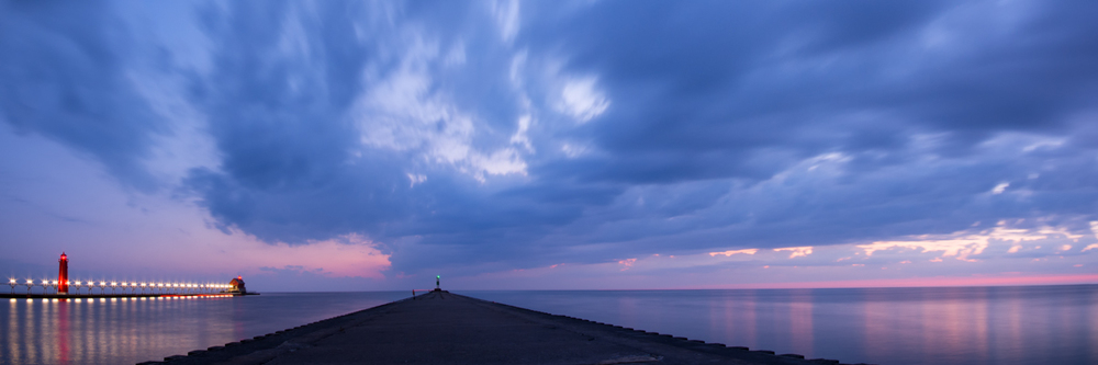 """A panoramic view of the Grand Haven Pier from week 27 of the """"Pier Series"""""""