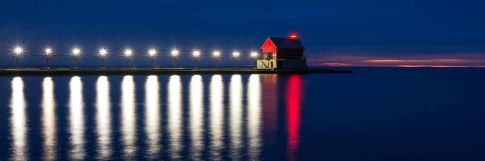 A panoramic image of the Grand Haven lighthouse from week 48 of the Pier Series