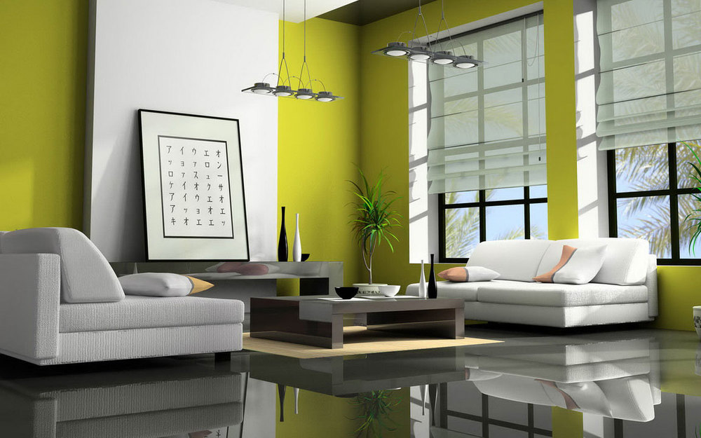 Affordable-Interior-Design-Miami-Modern-Penthouse-Design-White-And-Green-LivingRoom-Design