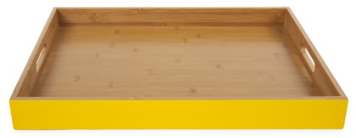 Yellow/Bamboo Serving Tray