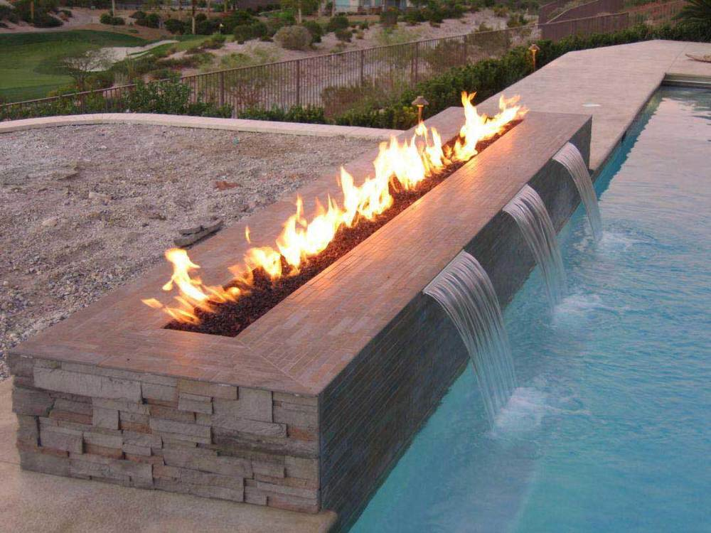 Fire pit near a swimming pool