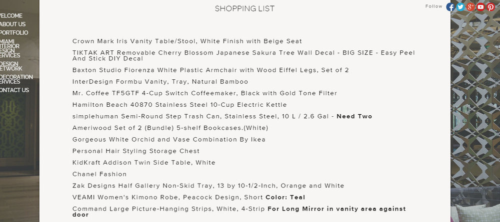 Each of the title items listed above were clickable URL links,so that Beth could purchase her decor at her leisure.