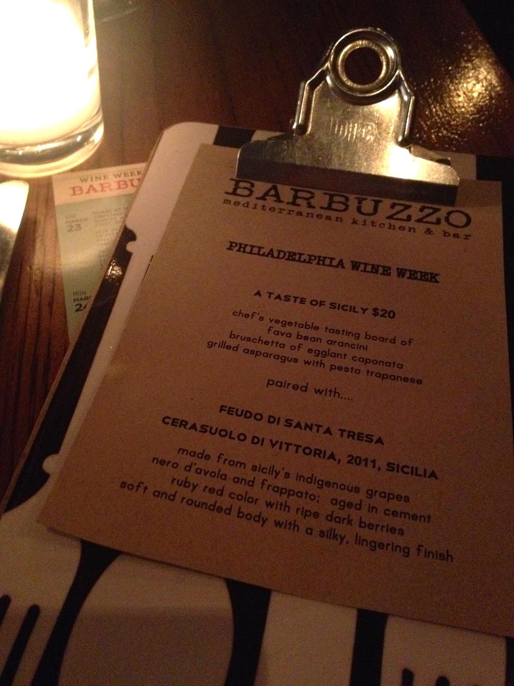 Barbuzzo menu