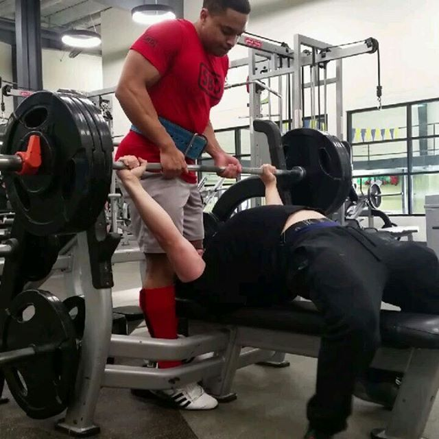 Such a good bench day!  Tied all time PR's with 147.5/325 x 2 and 143/315 x 3.  Last time I hit these was during daily maxing while weighing 210-212.  This morning I was 88/194.  Thrilled with how bench is holding up.  I'll stop posting so much bench, or MAYBE I WON'T.  @chancemitchellpbc with a great liftoff on 325 and a terrible one with 315, but we're still cool.