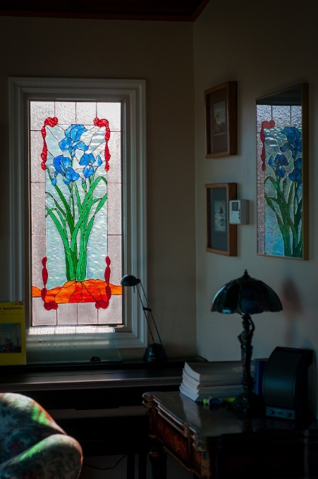 Her husband has had to add cutouts throughout their home for all the stained glass they've made over the past few years!