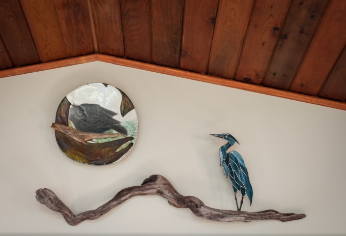 One of two herons in their home, and a pottery piece by a local artist whose studio I was able to visit.