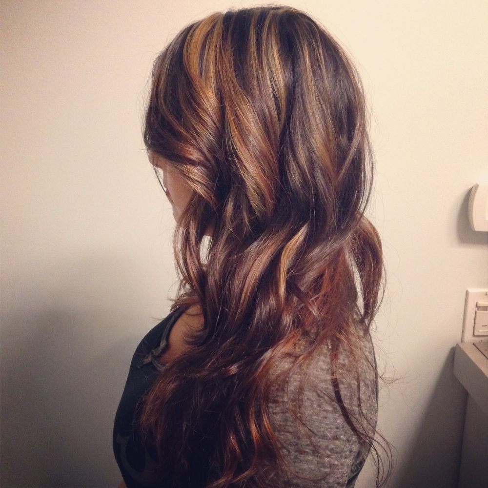 Partial Highlights On Brown Hair Caramel highlights with a