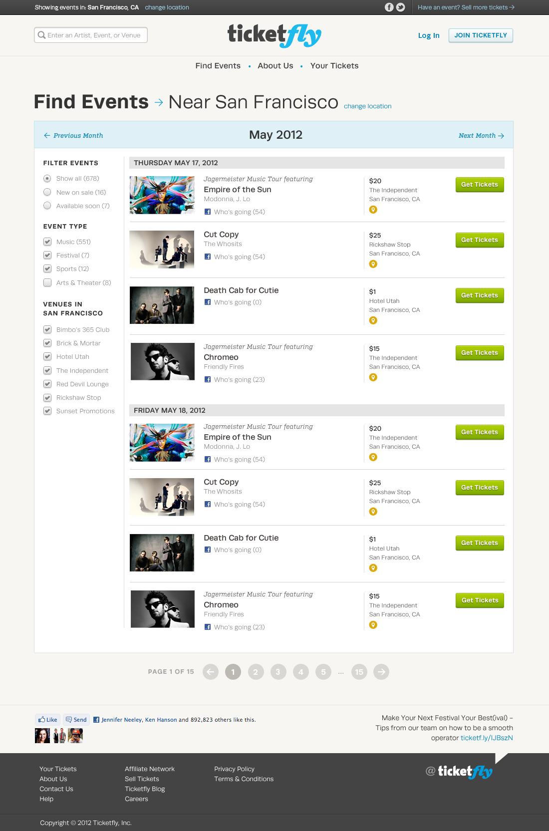 TicketFly Website — dreamjar