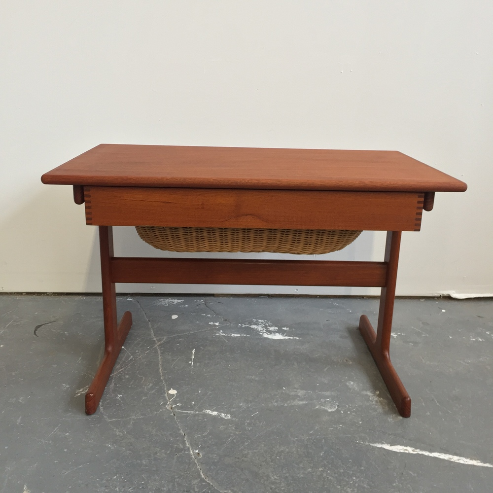 Sold tablesdesks far out finds vintage scandinavian furnishings vintage danish modern teak sewing table by vm geotapseo Image collections