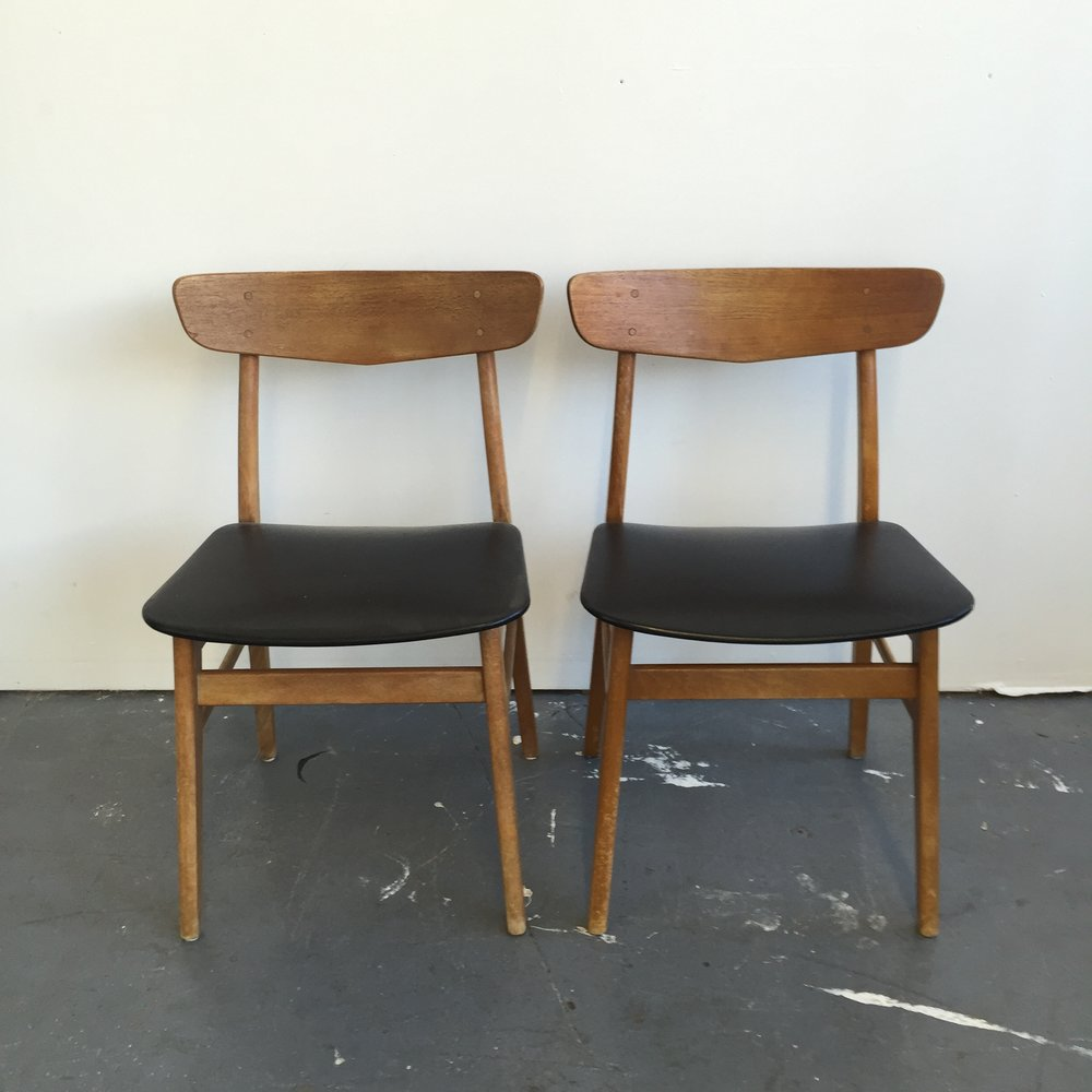 Elegant Pair Of Vintage Danish Modern Farstrup Dining Chairs