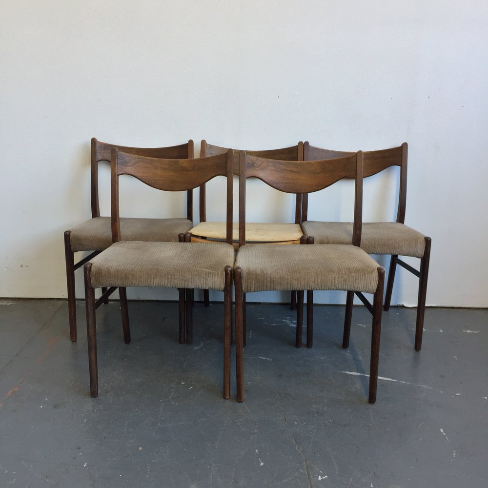 Set Of 5 Vintage Danish Modern Rosewood Dining Chairs By Arne Wahl Iversen