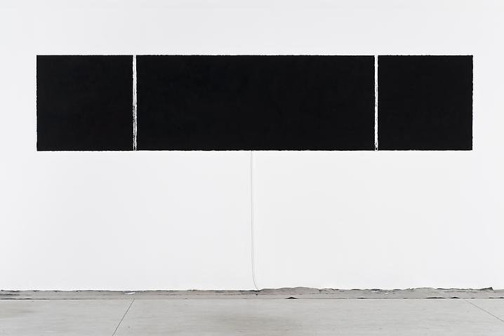 Untitled (black on red, black on black, black on green \ burnt salt triptych), 2010 | Burnt salt, dye, lead, refrigerator motor