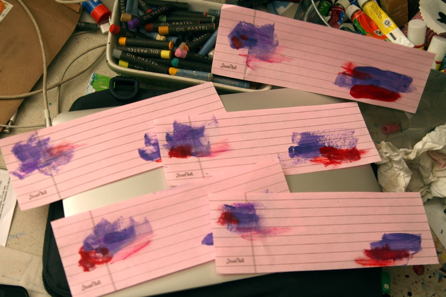 This pink paper was leftover scraps from cutting paper for my new mini-notebooks.