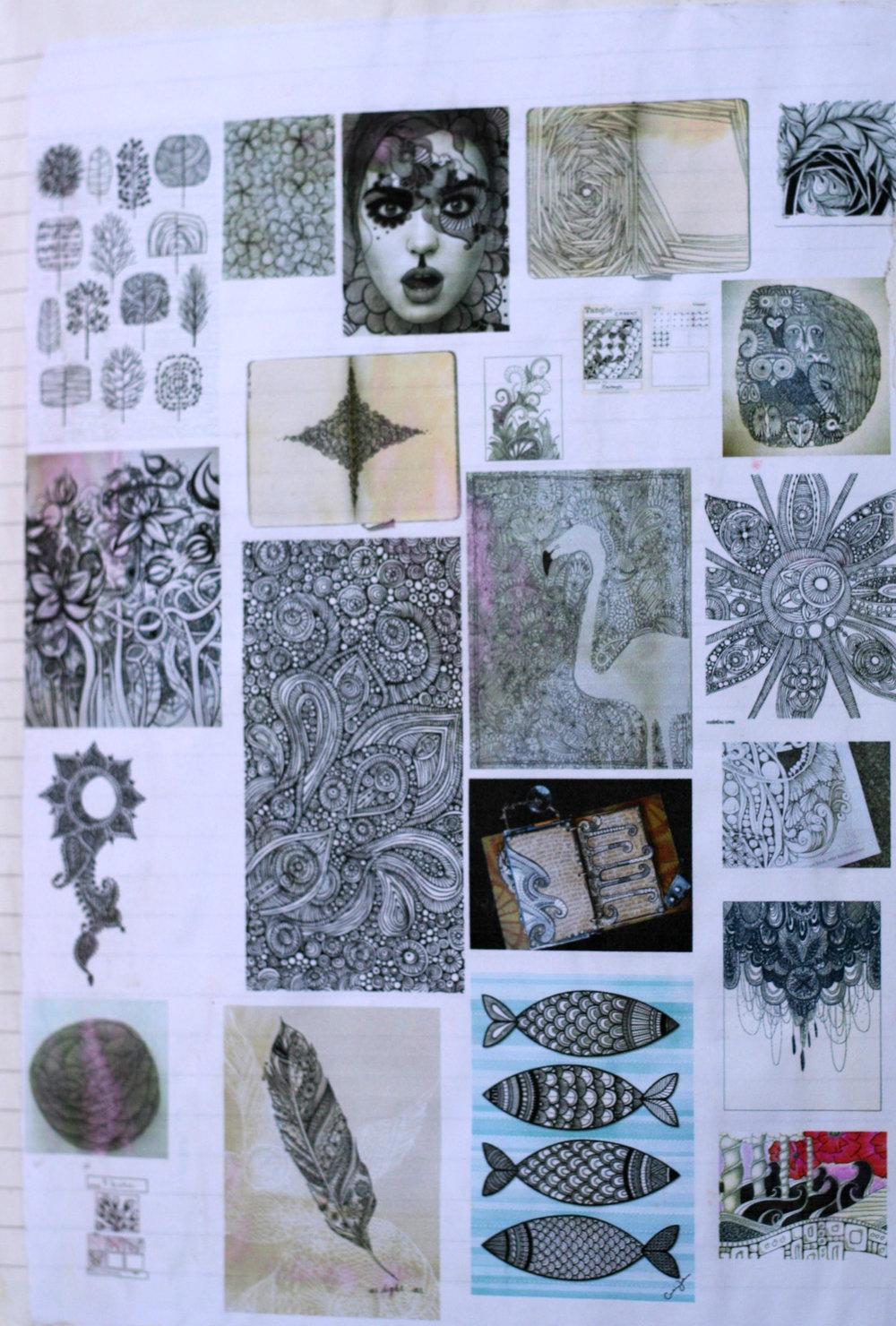 *Not my art. This is an artist study of zentangles that I compiled and glued into my art journal.