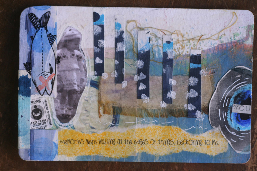 Side one of Dawn's postcard after I altered it.