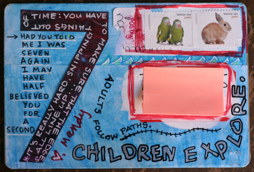 Side two of my postcard after Dawn altered it. She happened to add some of my favorite quotes!