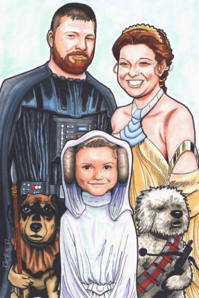 Family portrait art by Artist Jerry Bennet, because don't we all want to cosplay Star Wars?