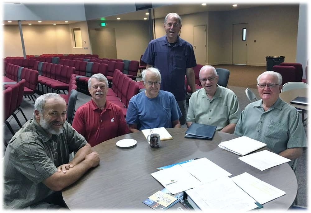 Dave, John, Larry, Tom, Rich and Pastor Craig standing