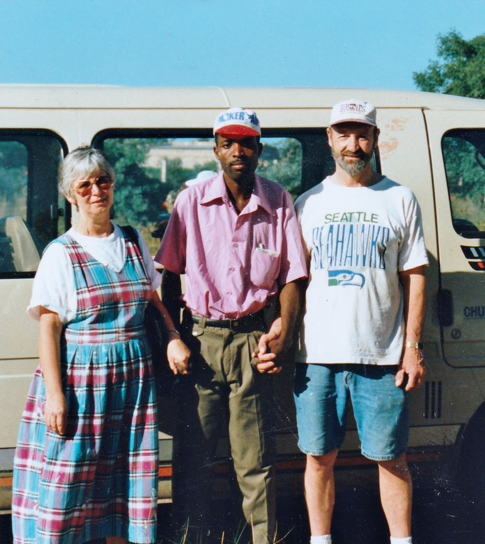 Pug and Lee with one of the workers in Mozambique