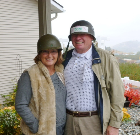Tom and Carolyn getting ready for a trip to Israel November 2012 with a group from North Shore Bible Church.