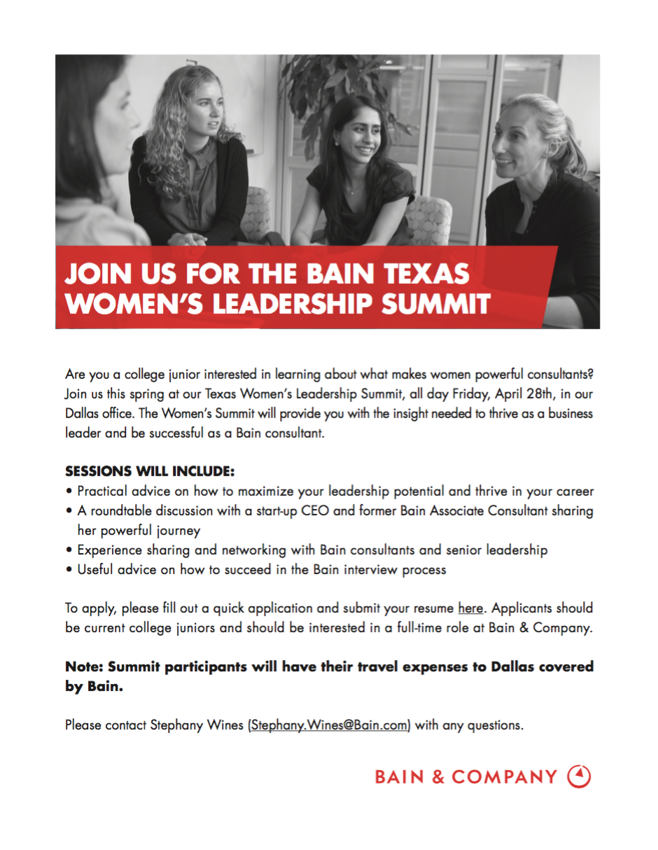 Bain Texas Women's Leadership Summit (apply 4/2) — Stanford Women In